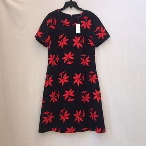 NWT Banana republic navy/red floral dress 12 tall